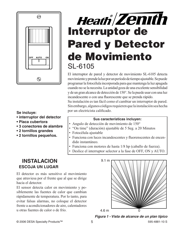 interruptor de pared y detector de movimiento sl 6105 instalacion rh manualsdir com Heath Zenith Replacement Parts Heath Zenith Motion Sensor Reset