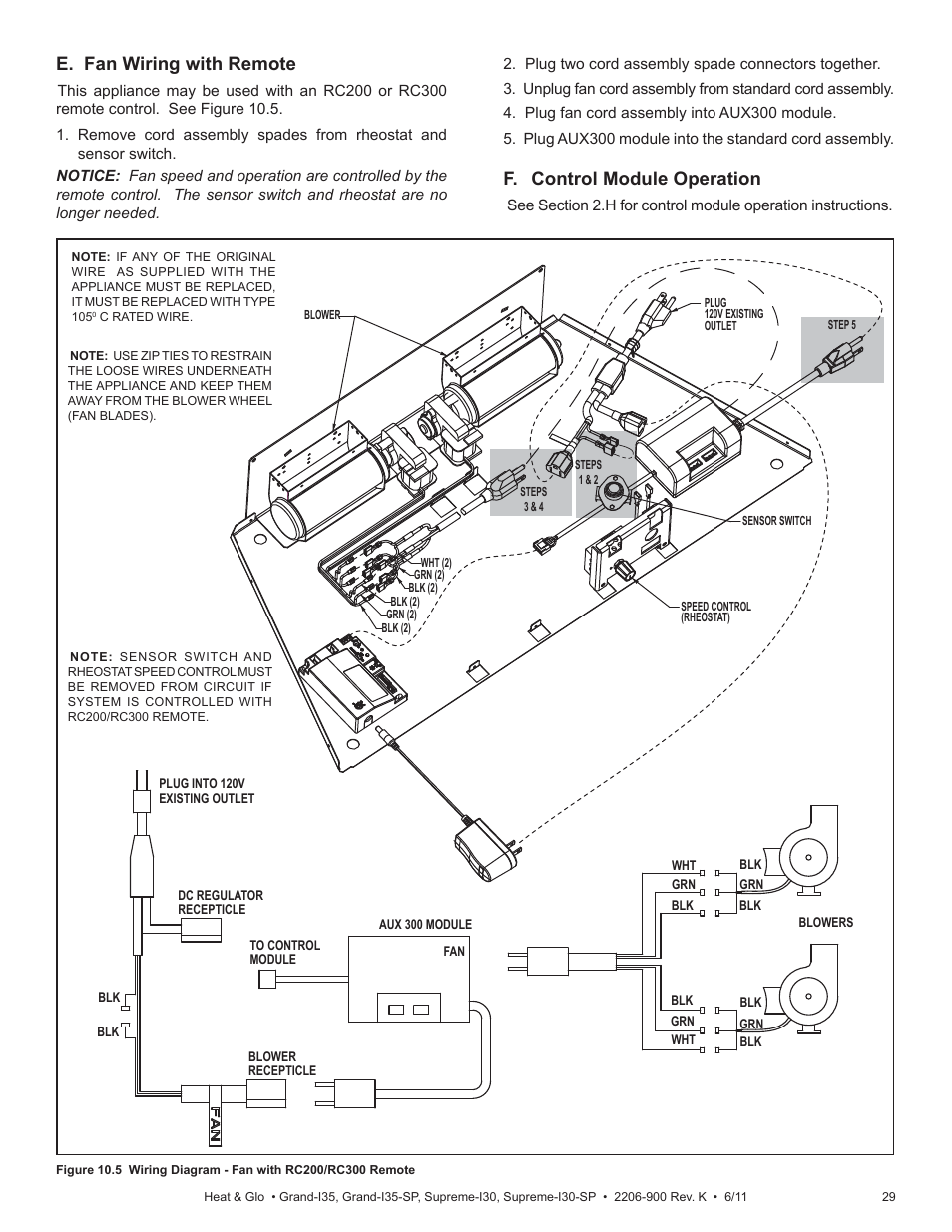 e fan wiring with remote, f control module operation heat & glo refrigeration wiring diagrams e fan wiring with remote, f control module operation heat & glo fireplace supreme i30 user manual page 29 43