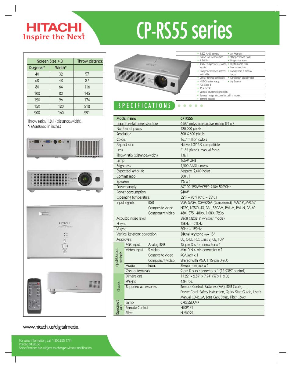 hitachi cp rs55 user manual 1 page rh manualsdir com Hitachi Repair Manual hitachi cp-rs55 specs