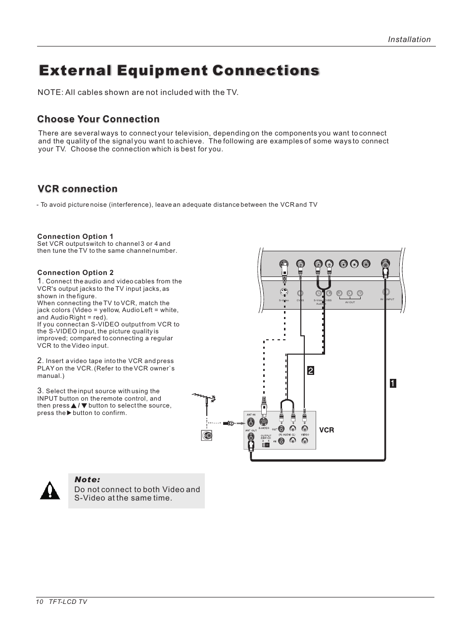 External equipment connections, Vcr connection, Choose your ...