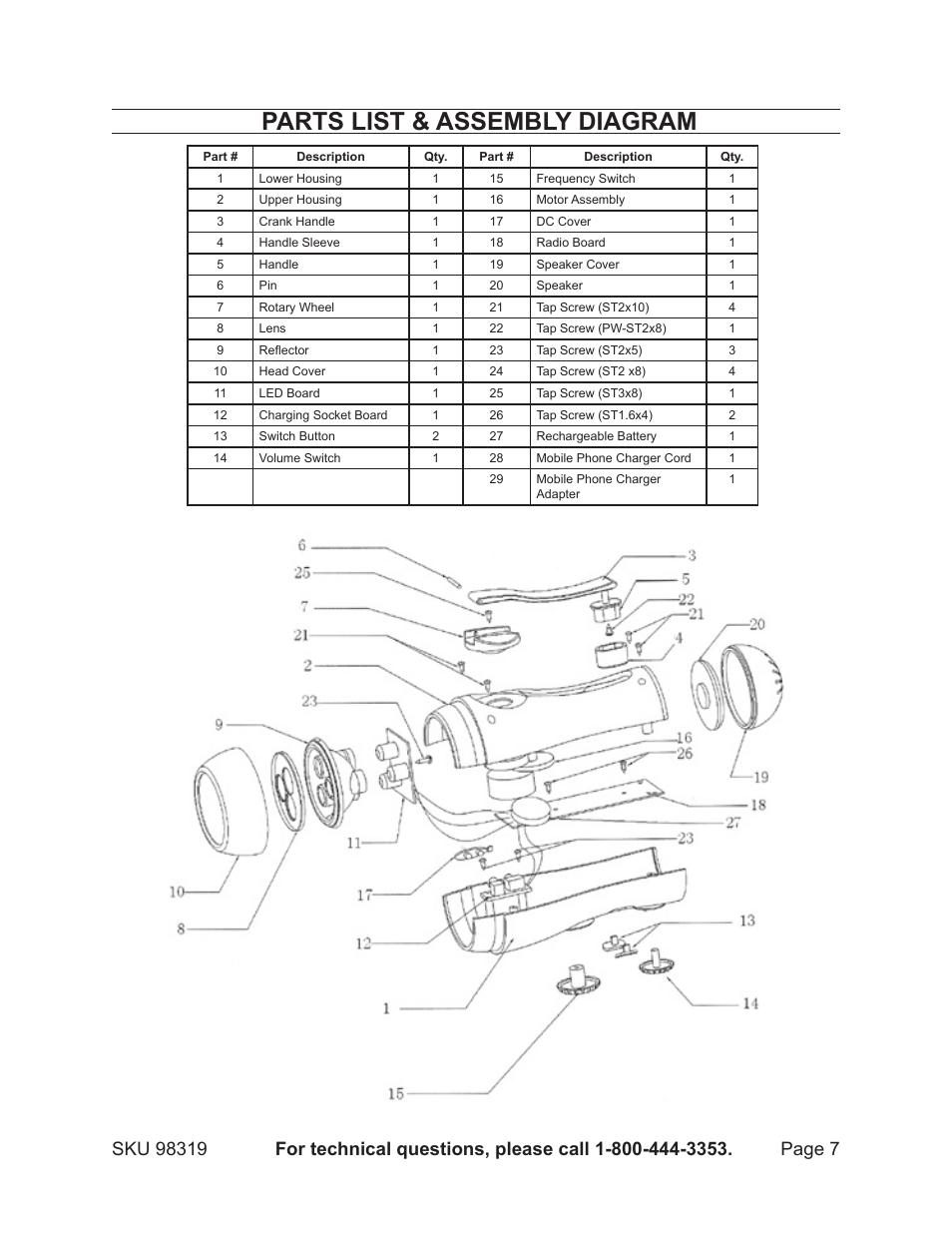 parts list  u0026 assembly diagram