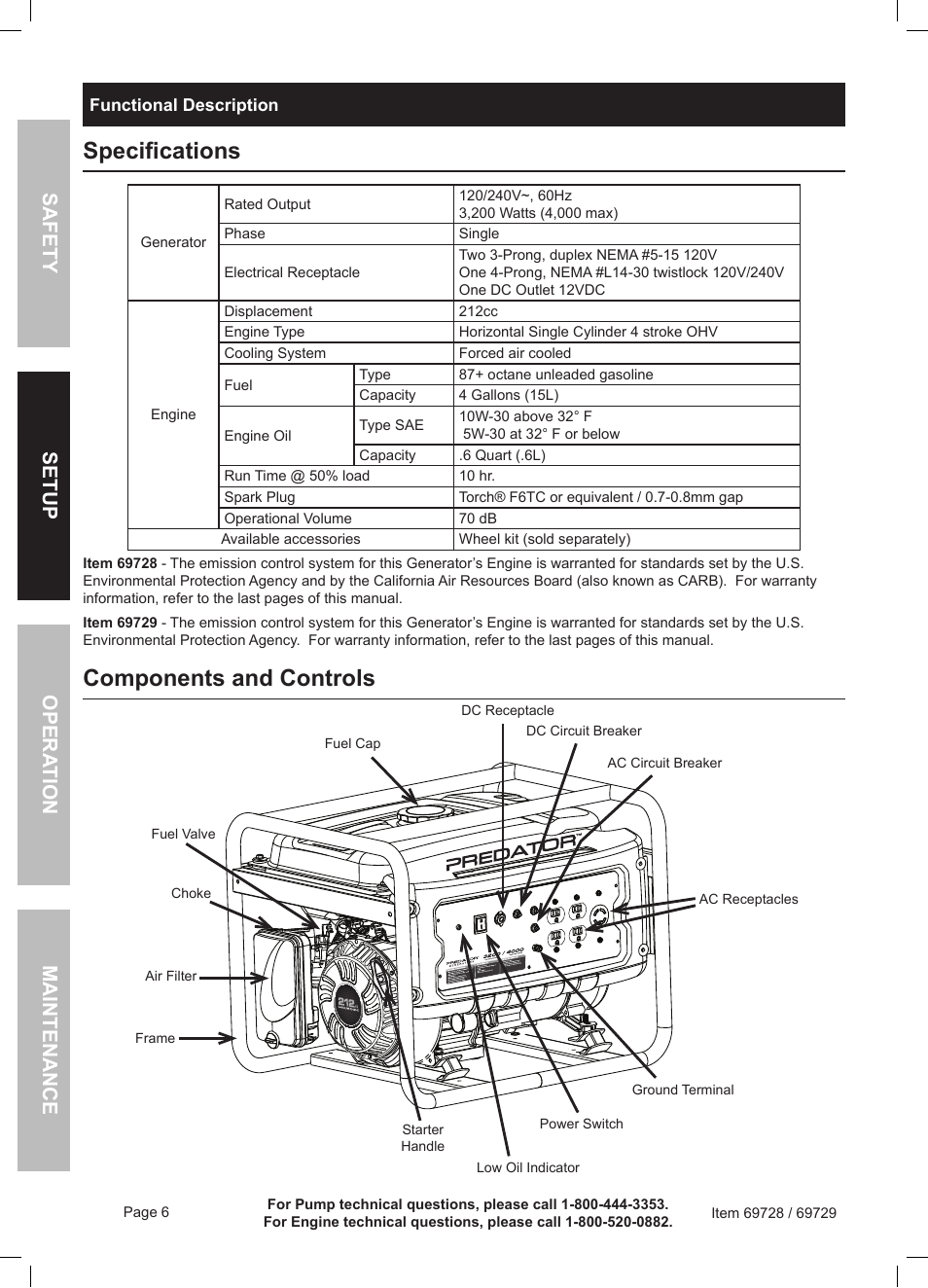 Specifications Components And Controls Harbor Freight Tools Circuit Breaker Dc Generator Predator 69728 User Manual Page 6 24