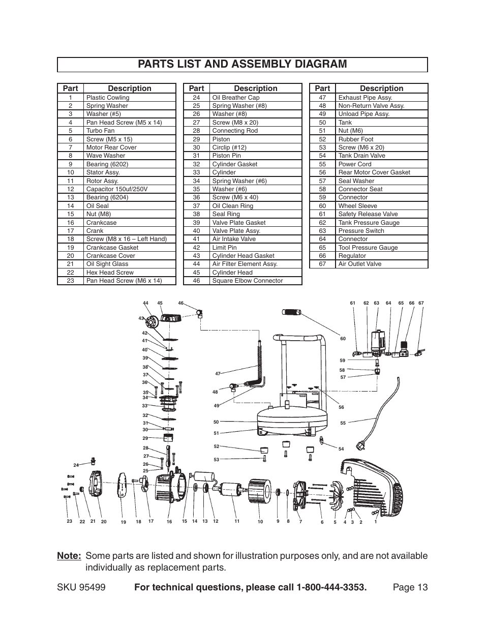 parts list and assembly diagram  part description