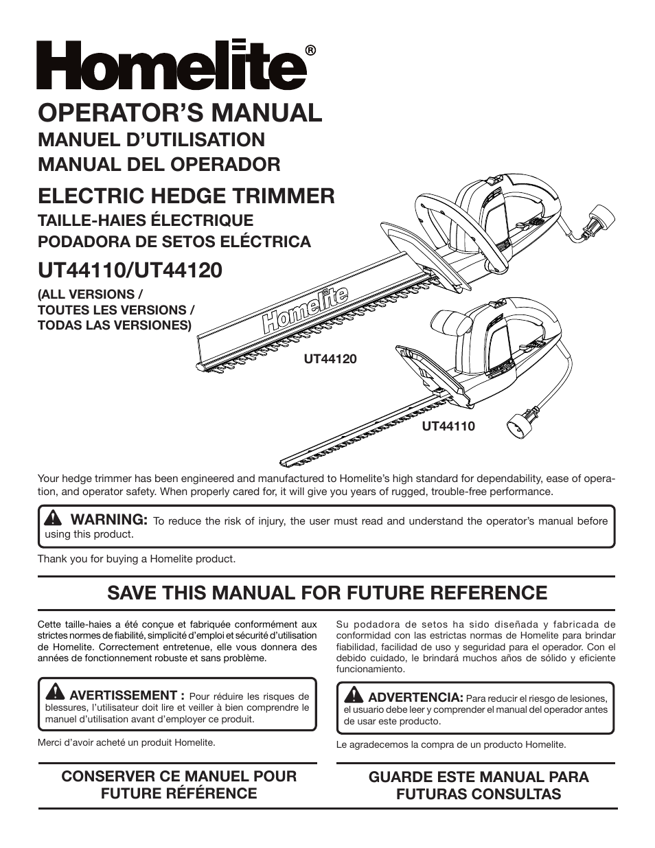 Homelite UT44120 User Manual | 38 pages