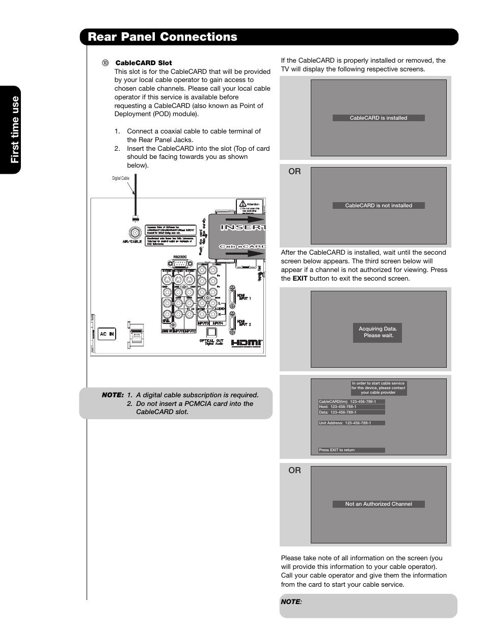 rear panel connections first time use hitachi 55hds69 user manual rh manualsdir com 2006 Hitachi Flat Screen T V Hitachi Tools