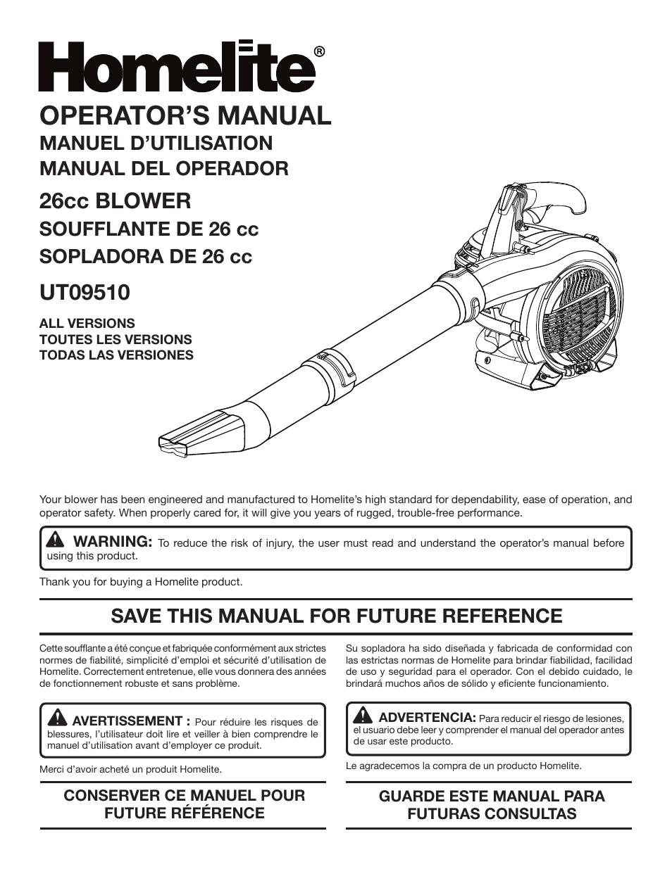 homelite ut09510 user manual 42 pages original mode rh manualsdir com Homelite Weed Eater Owner's Manual Homelite LR 5500 Repair Manual