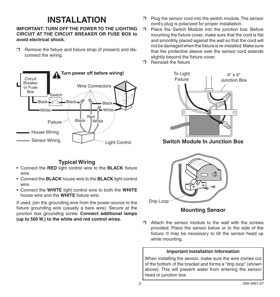 Installation Heath Zenith Sl 5210 User Manual Page 2 12 Wiring A Light Fixture On Loop