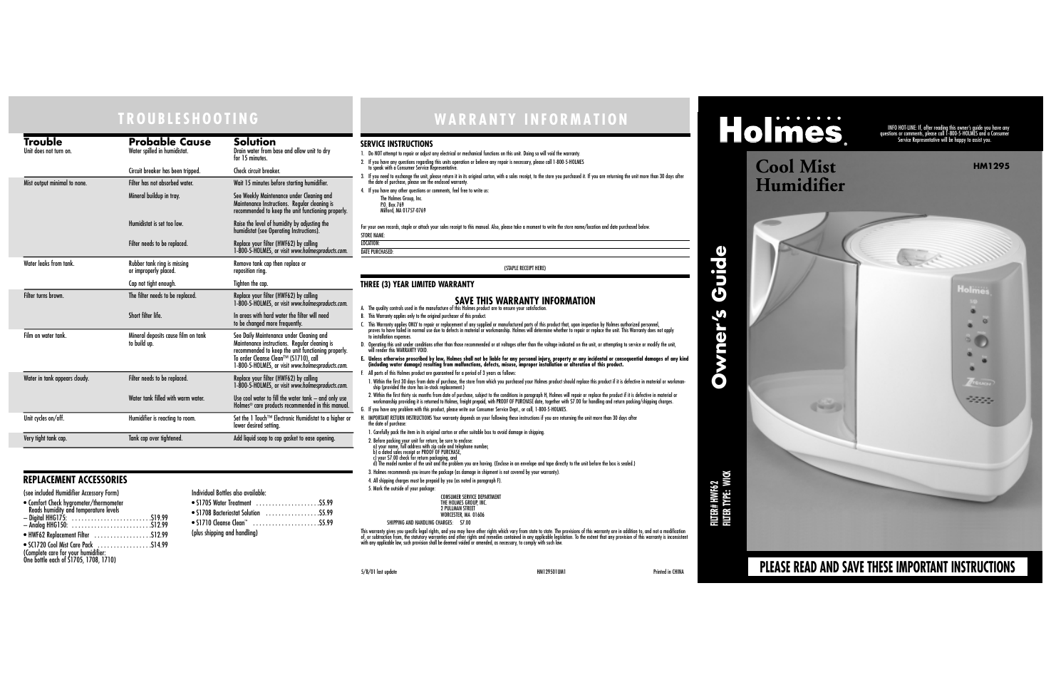 Holmes Hm1295 User Manual 6 Pages