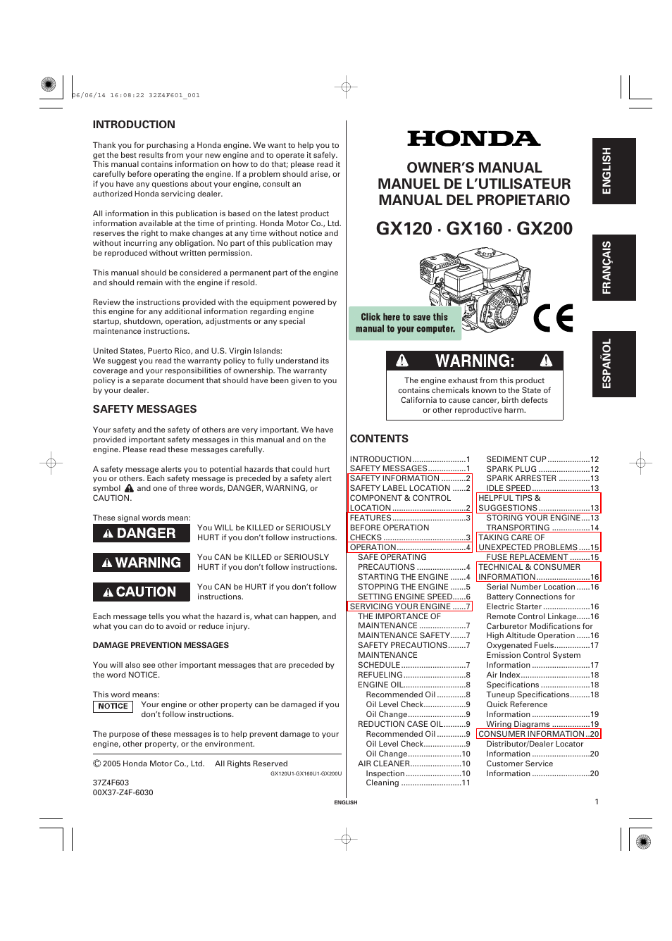 HONDA GX200 User Manual | 60 pages