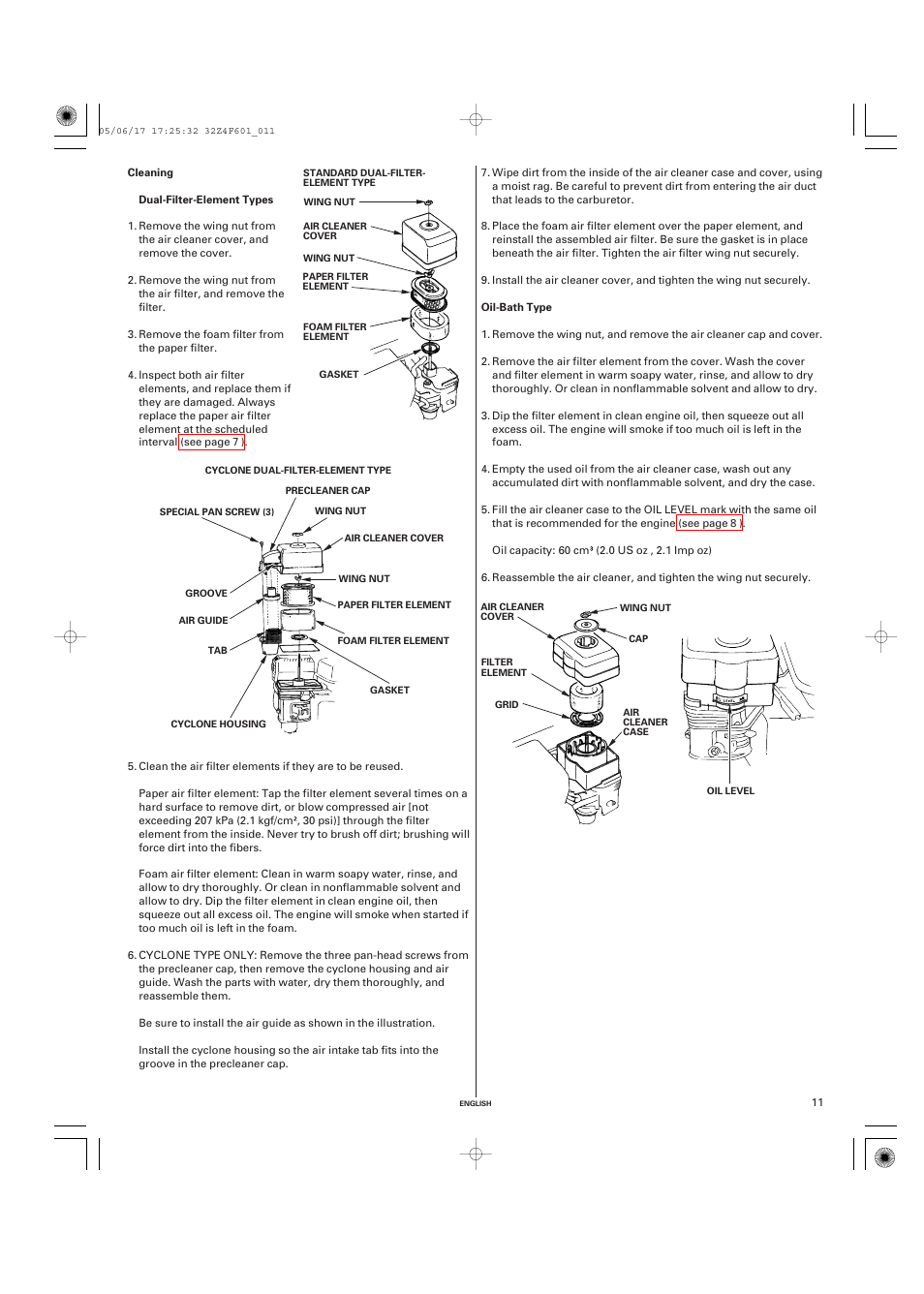 Cleaning | HONDA GX200 User Manual | Page 11 / 60