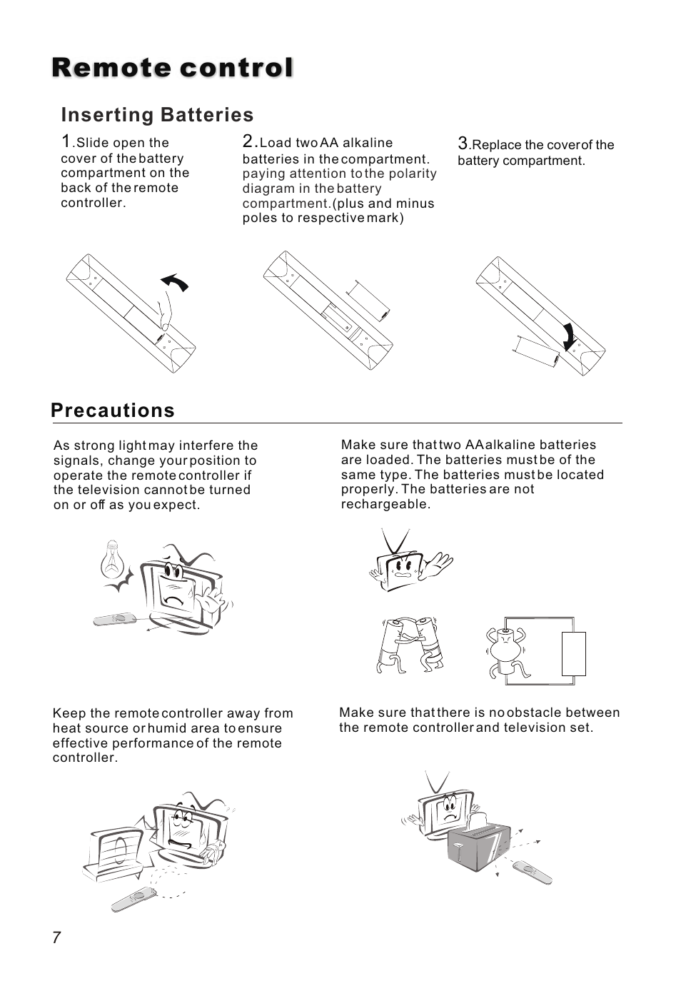 Т³гж 8, Remote control, Precautions | haier L26A16 User Manual | Page 8 / 38