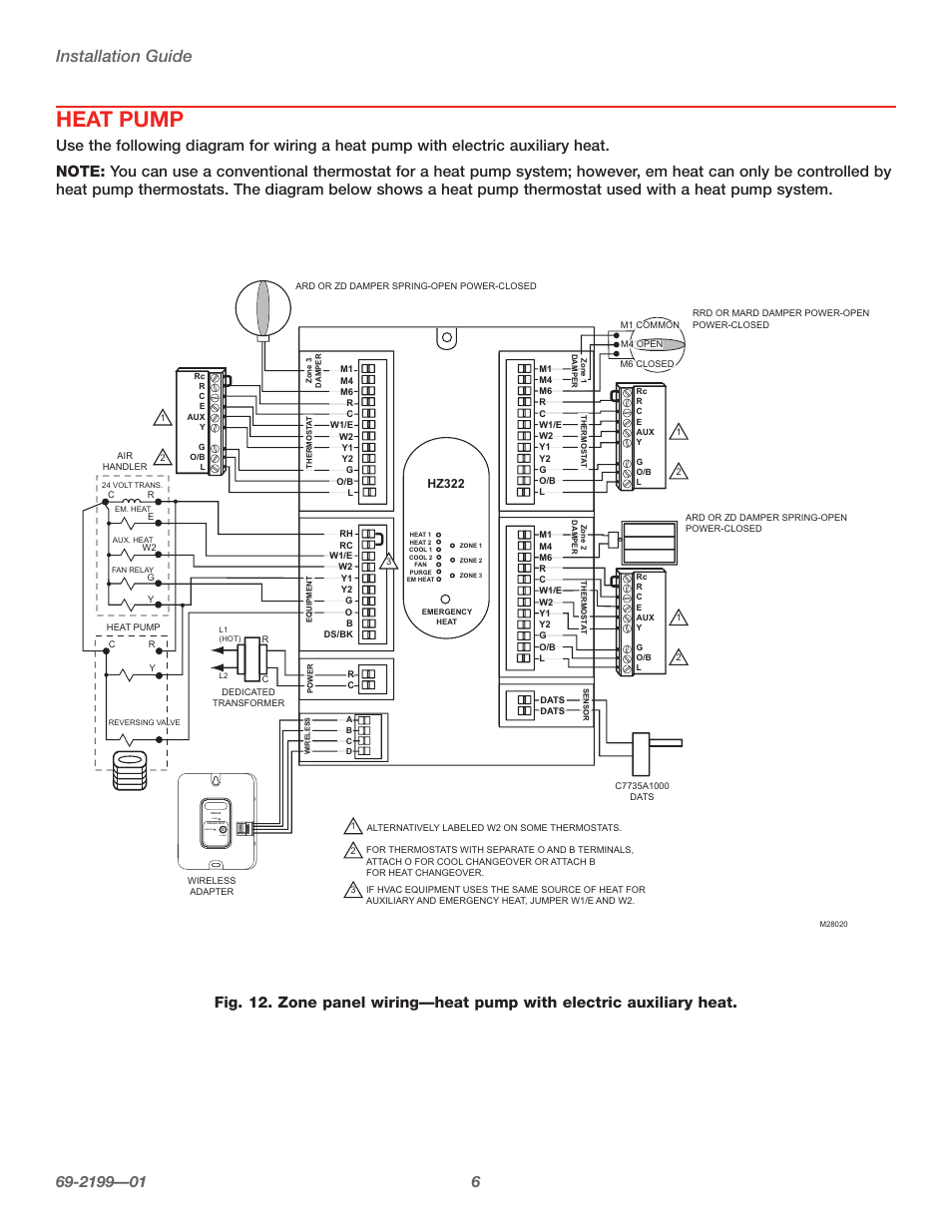 Wire Diagram Honeywell Hz322 Wiring And Ebooks Zoning Heat Pump Installation Guide Connect Power Truezone Rh Manualsdir Com Forced Air Zone Control