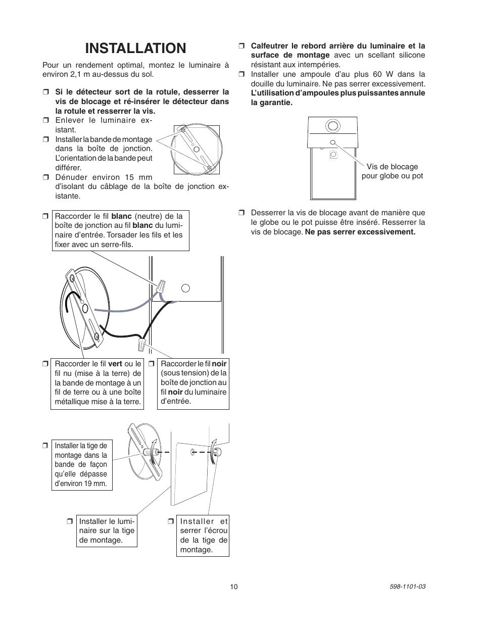 Installation   Heath Zenith Motion Sensor Entryway Light SL-5610/15 User  Manual  