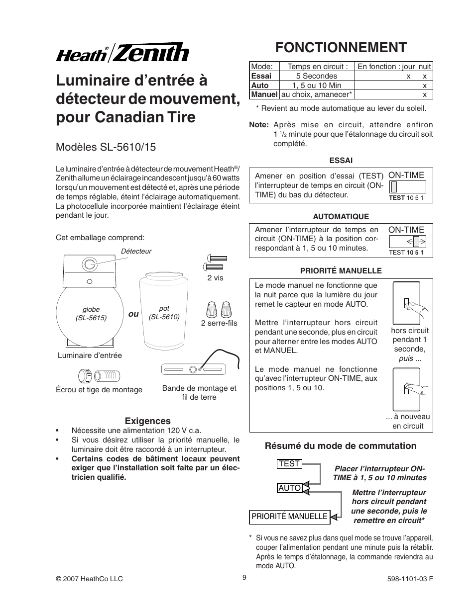Fonctionnement   Heath Zenith Motion Sensor Entryway Light SL-5610/15 User  Manual  