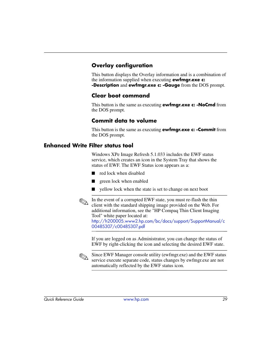 Enhanced write filter status tool   HP T5000 User Manual
