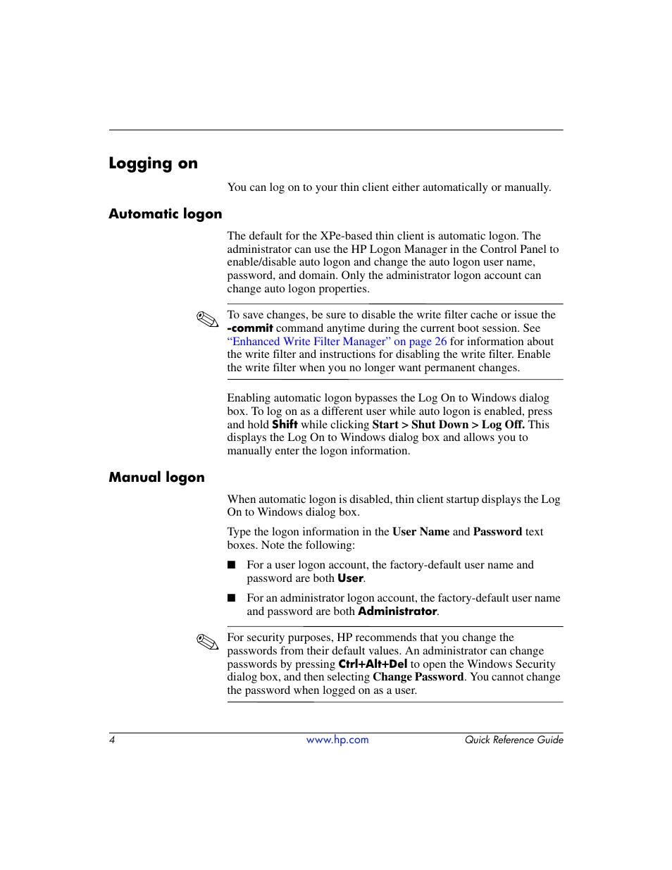 Logging on, Automatic logon, Manual logon | HP T5000 User