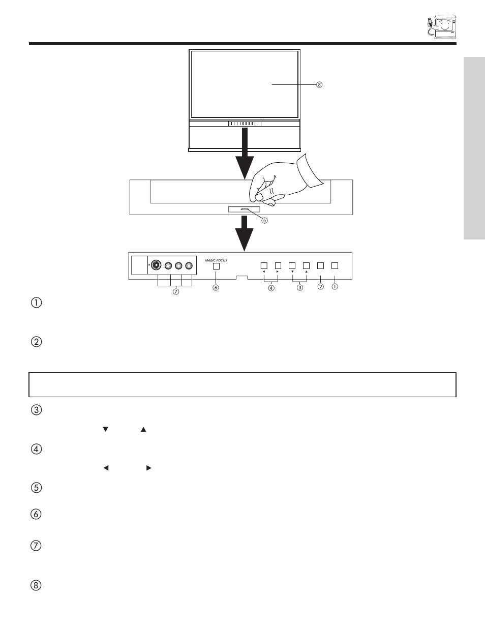 front panel controls first time use hitachi 51f500 user manual rh manualsdir com Hitachi TV Repair Manual Hitachi TV Service Manual