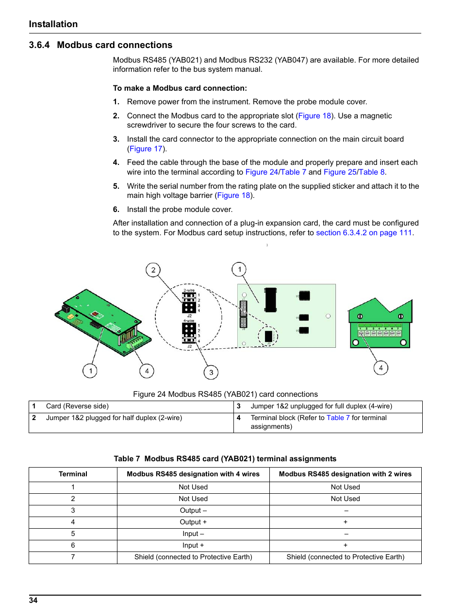 4 Modbus Card Connections Installation 364 Rs485 Wiring Diagram Hach Sc1000 User Manual Page 36 150