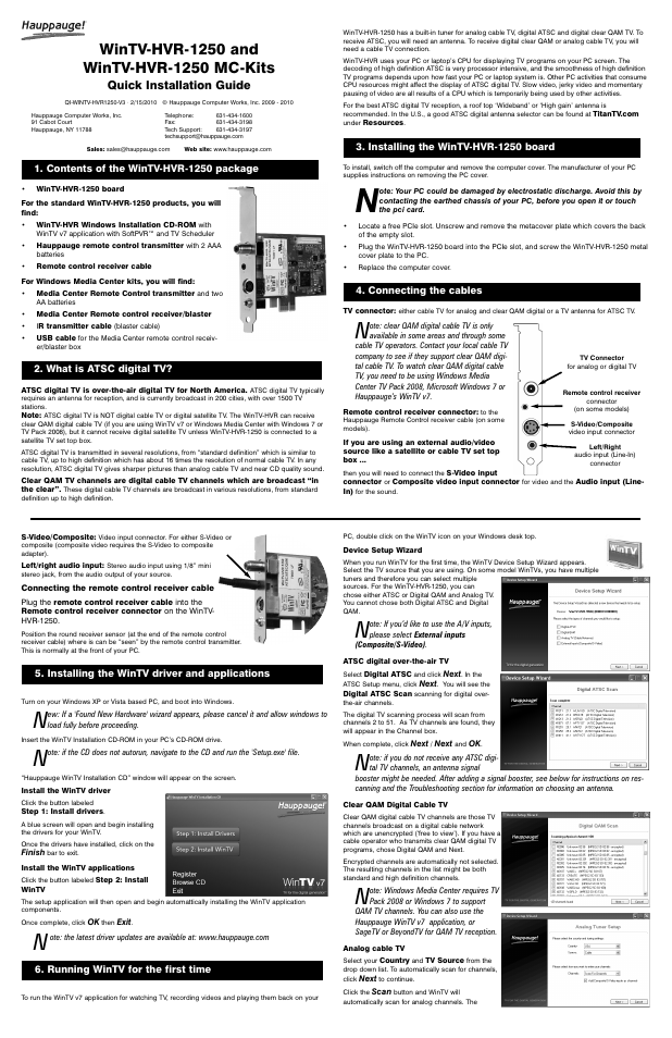 Hauppauge WINTV-HVR-1250 User Manual | 2 pages