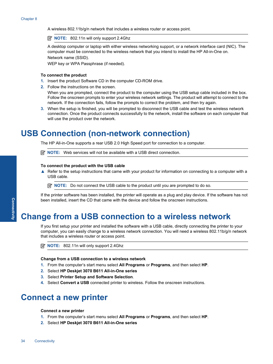 Usb connection (non-network connection), Change from a usb