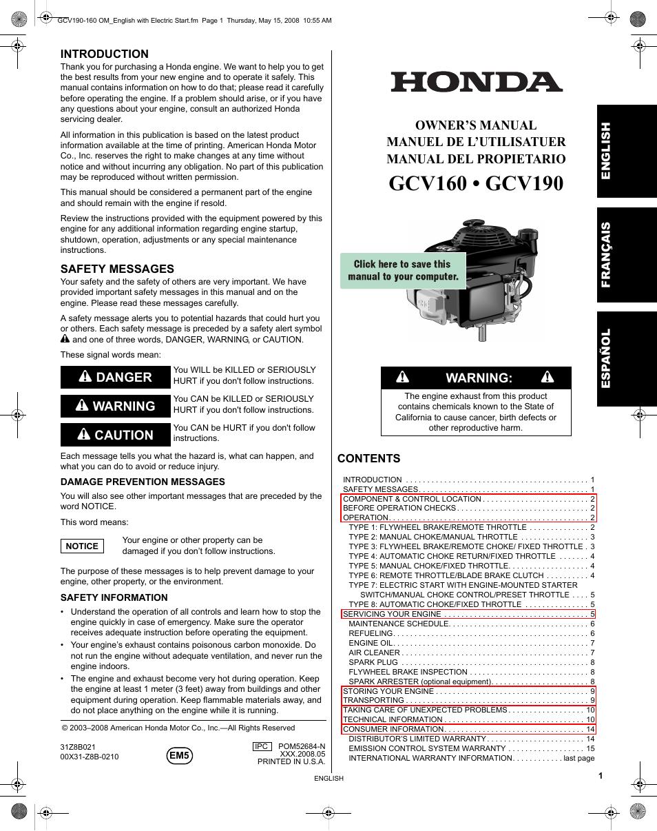 honda gcv190 user manual 48 pages also for gcv160 rh manualsdir com