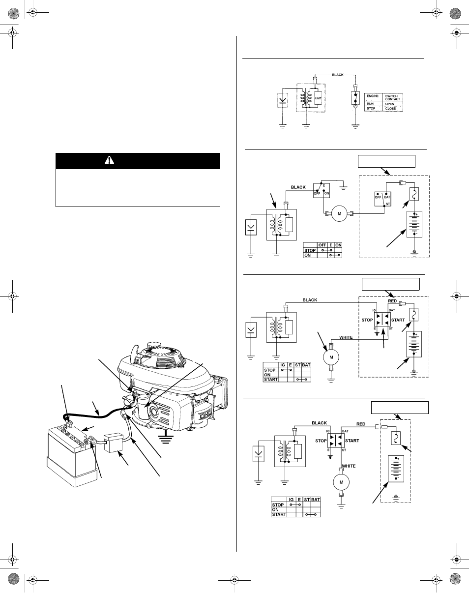 Battery connections, Wiring diagrams, Warning | HONDA GCV190 User Manual |  Page 13 /
