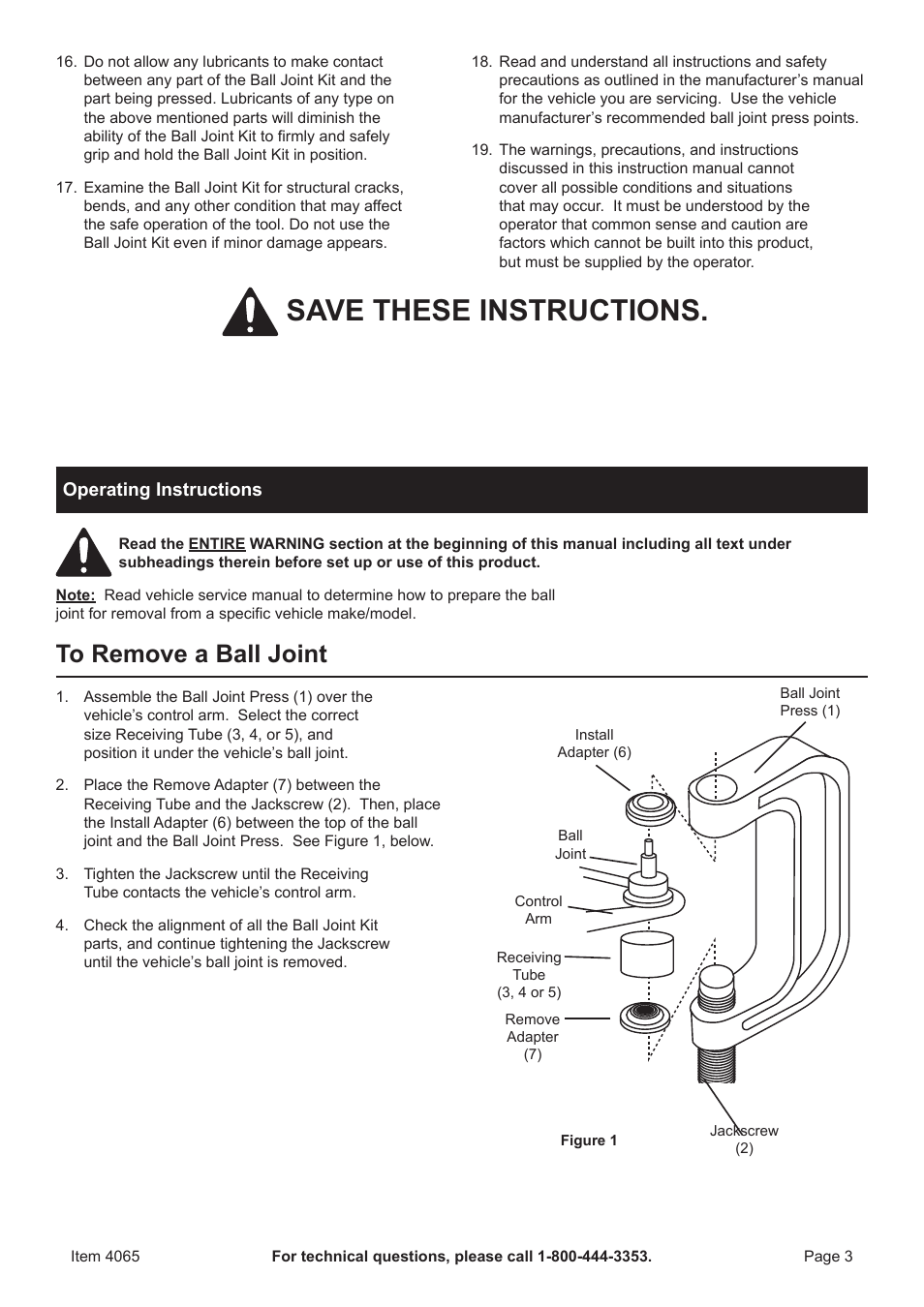 Save These Instructions Harbor Freight Tools Pittsburgh Automotive