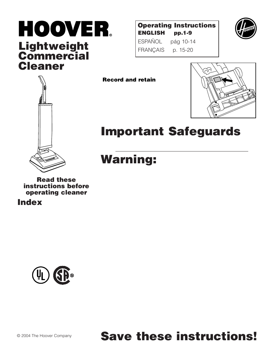 Hoover Lightweight Commercial Cleaner User Manual 9 Pages
