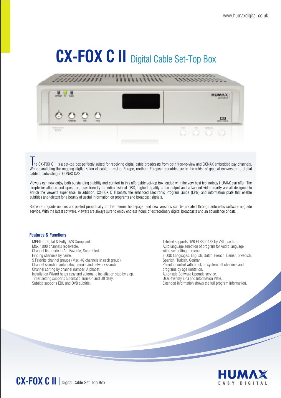 humax digital cable set top box cx fox c ii user manual 2 pages rh manualsdir com