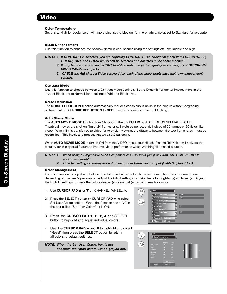 video on scr een display hitachi 55hdt79 user manual page 48 rh manualsdir com Hitachi Plasma HDTV Hitachi 50VS69A TV Model