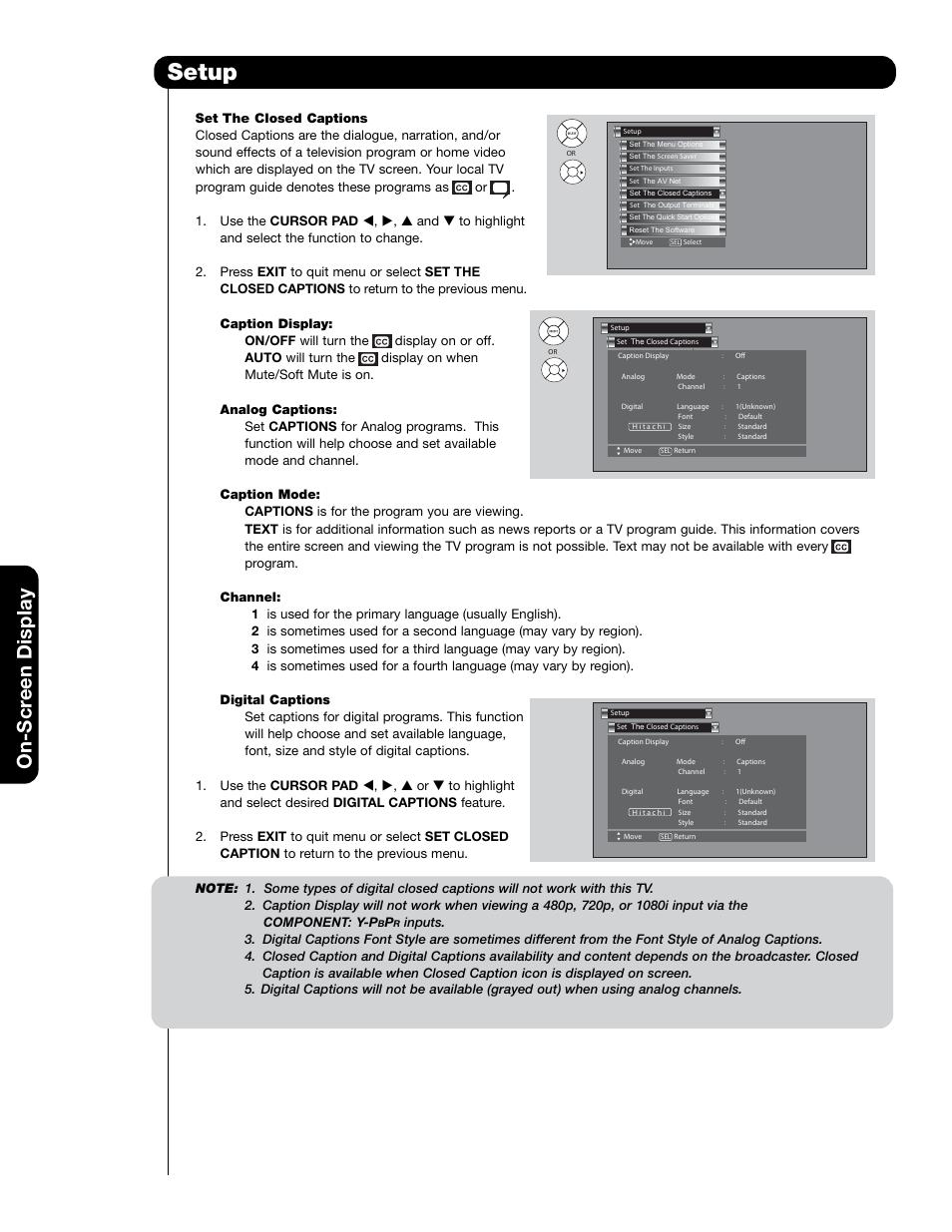 setup on scr een display hitachi 55hdt79 user manual page 76 rh manualsdir com Verizon LG User Manual Honeywell Pressuretrol Manual