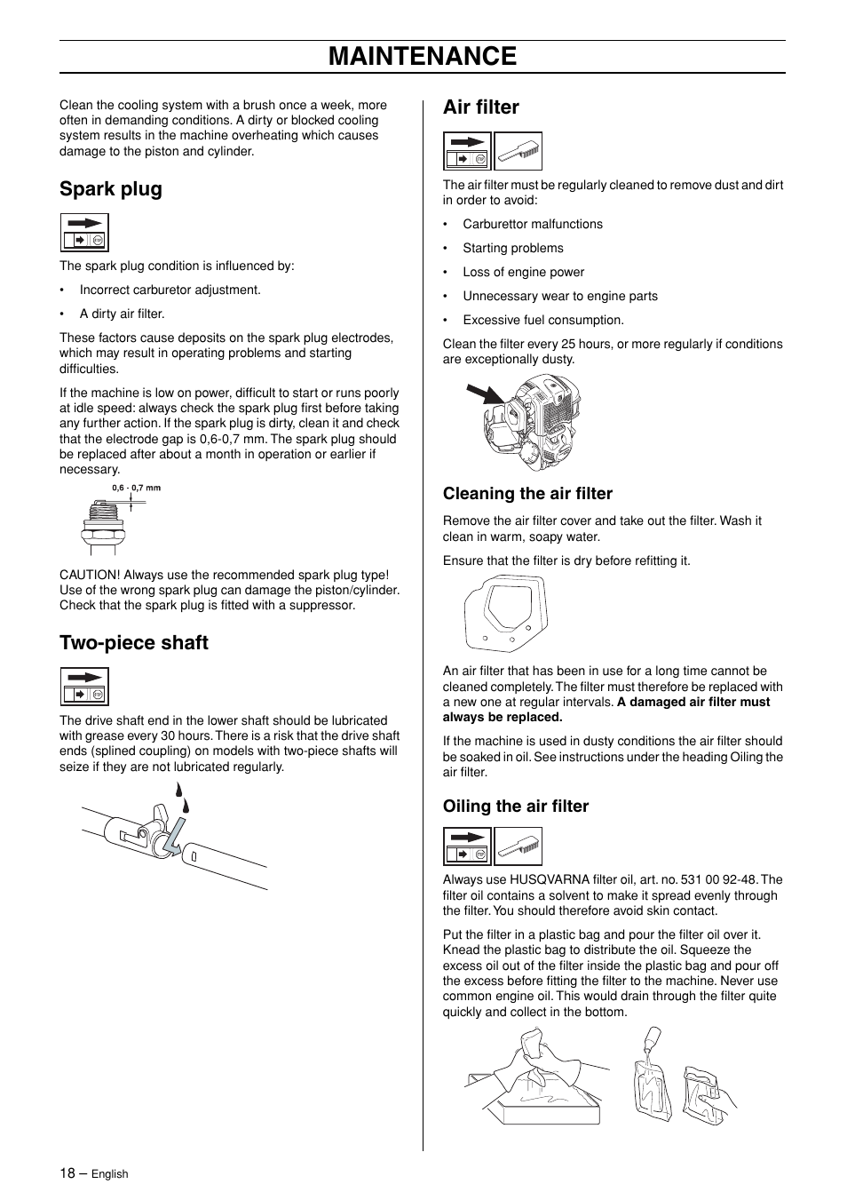 Spark plug, Two-piece shaft, Air filter | Husqvarna 324L User Manual | Page  18 / 28