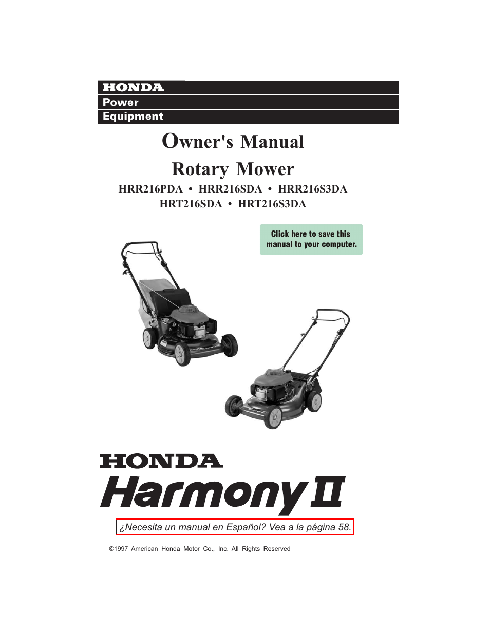 HONDA HRR216S3DA User Manual | 66 pages | Also for: HRR216PDA, HRR216SDA,  HRT216SDA, HRT216S3DA