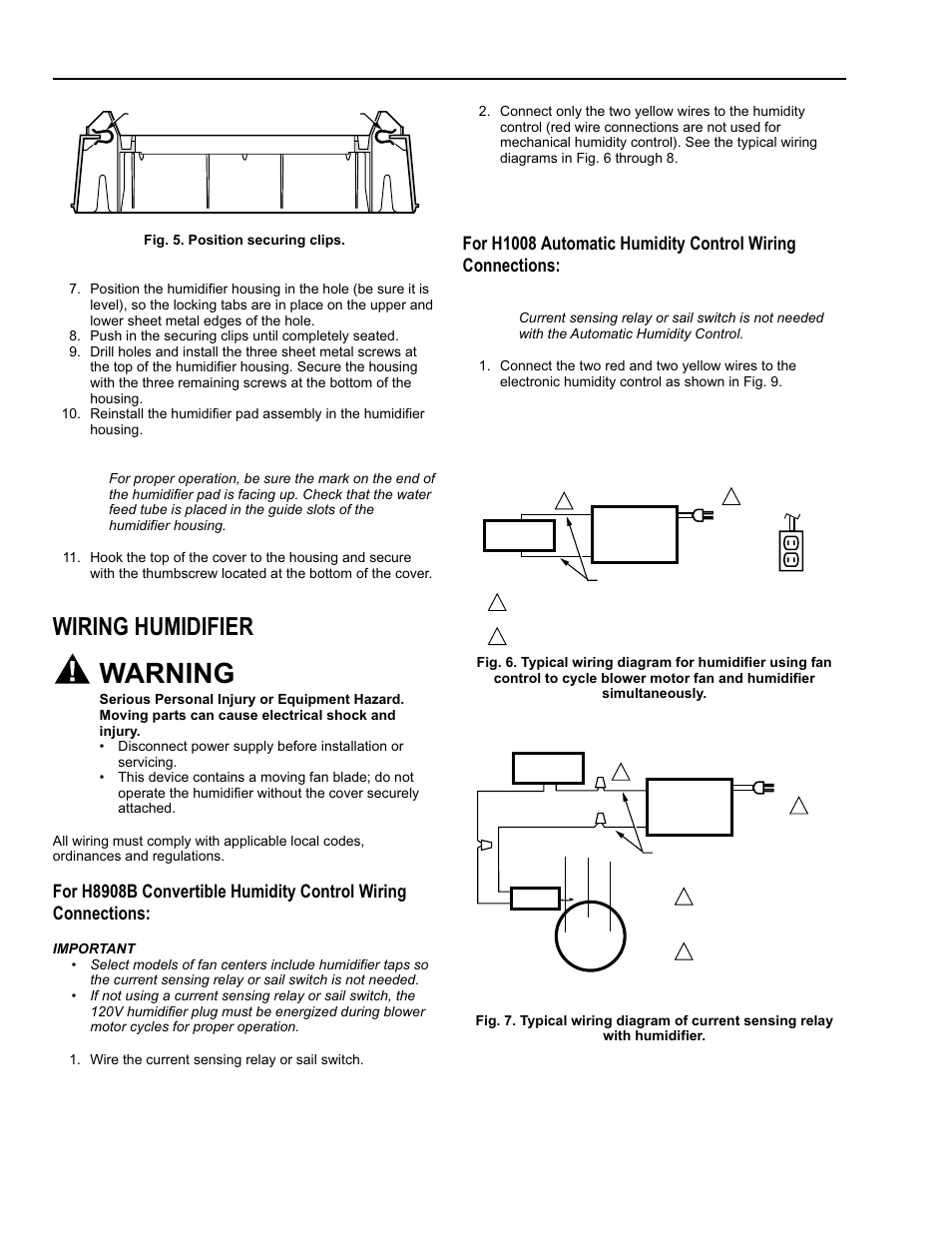 Honeywell Sail Switch Wiring Diagram Trusted Gas Valve Warning Humidifier Enviracaire He365b User Valves
