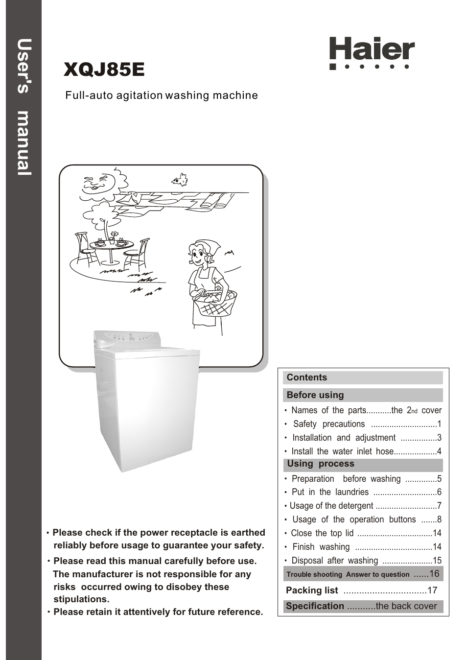 Haier Xqj85e User Manual 20 Pages Also For Full Auto Agitation Washing Machine Wiring Diagram