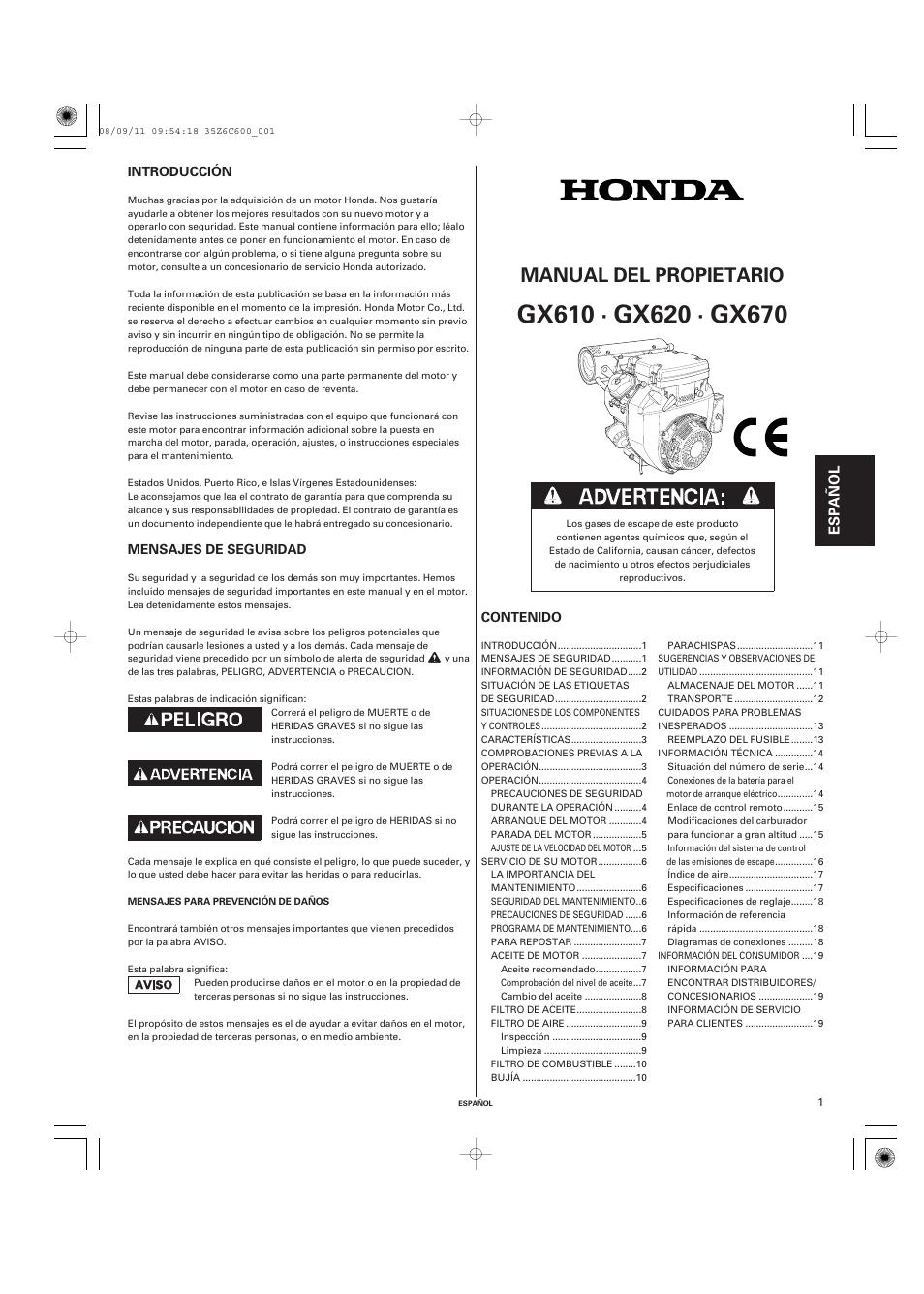 honda gx620 engine manual