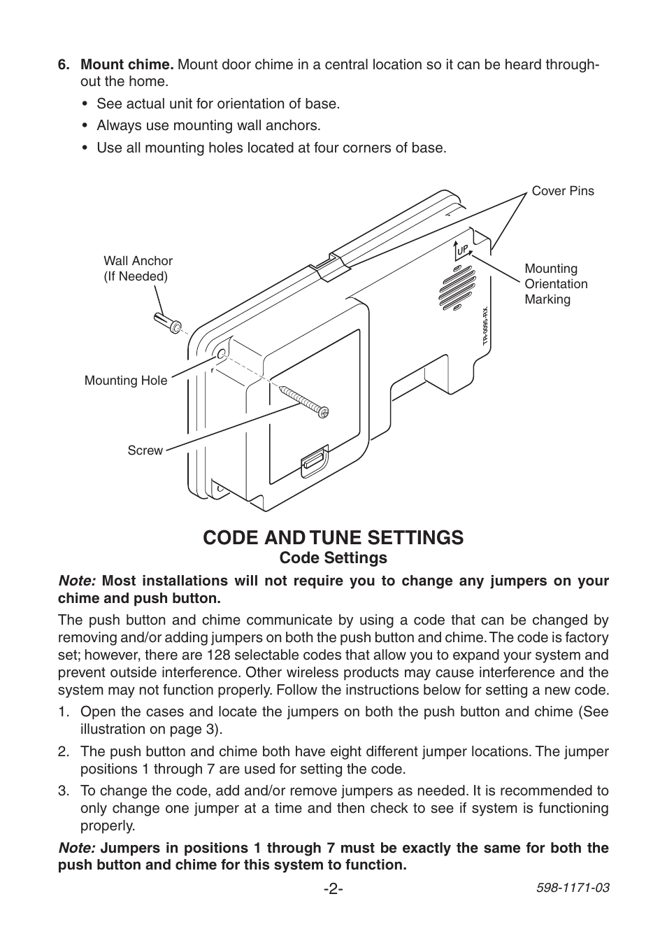 Code And Tune Settings Heath Zenith Wireless Chime Tr