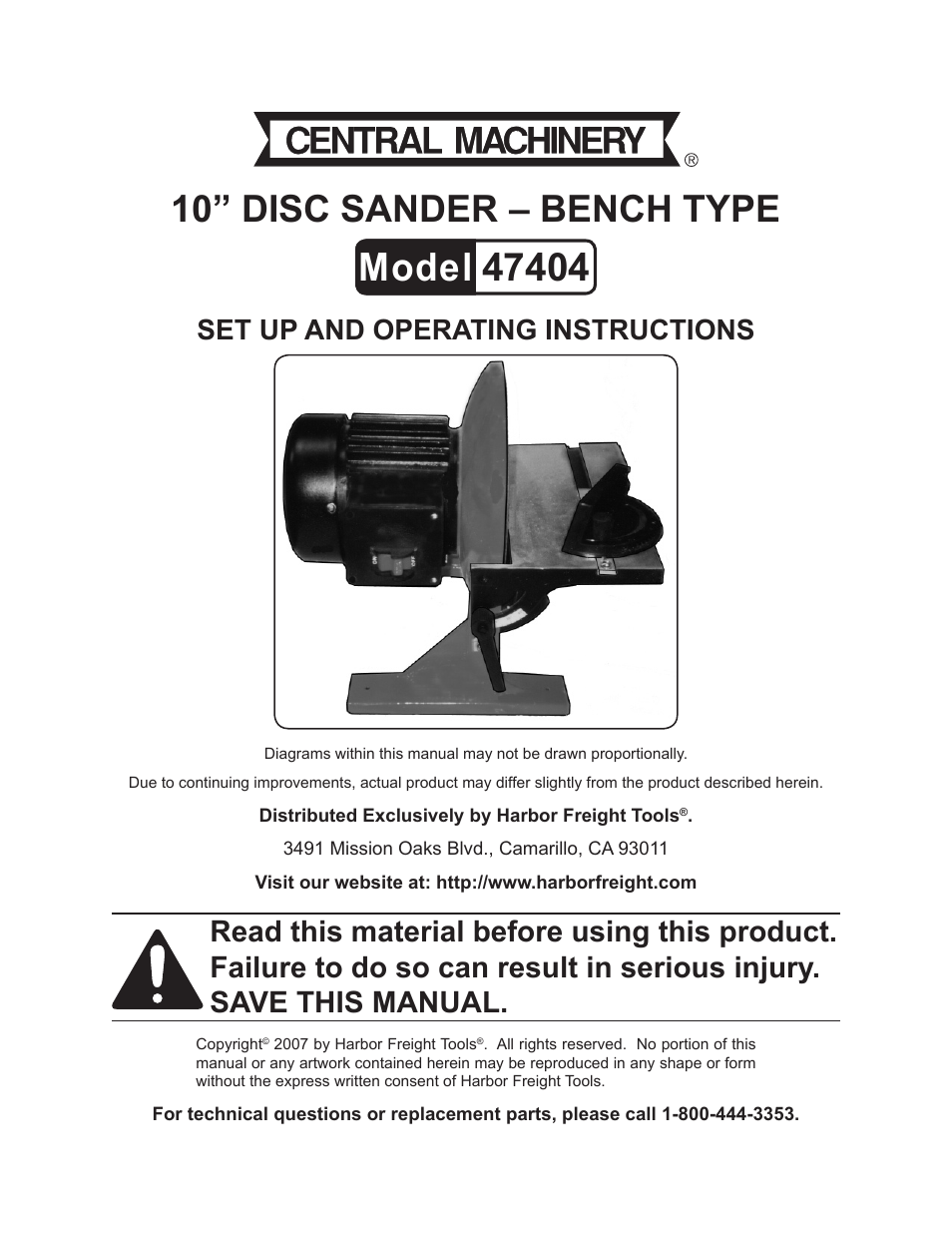 bench sander harbor freight. central machinery manuals harbor freight tools 10 disc sander bench type