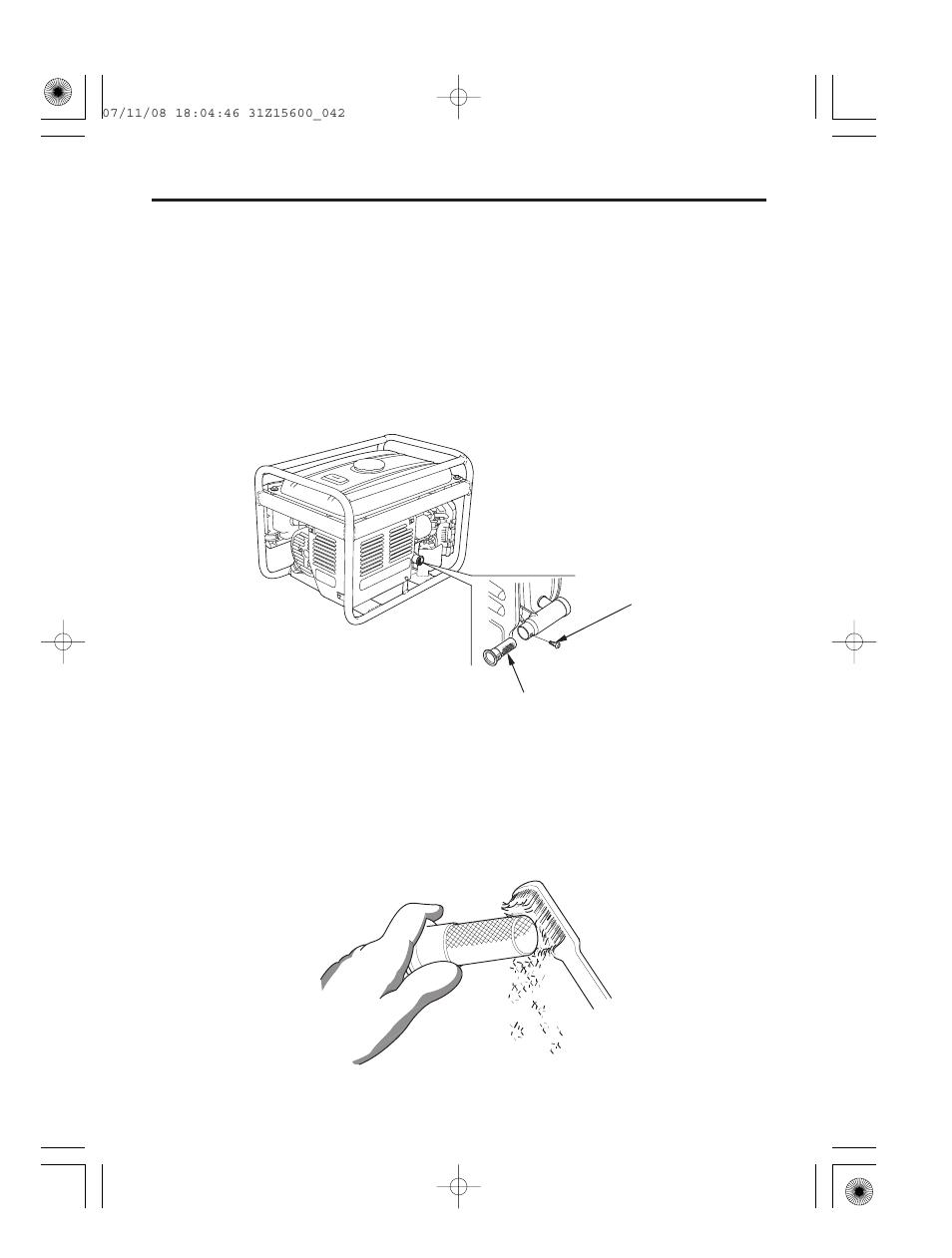 Spark arrester service, 41 servicing your generator | HONDA EP2500CX User  Manual | Page 43