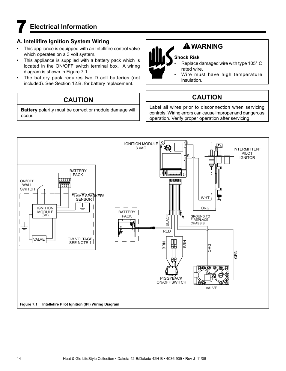 Caution Electrical Information Warning Hearth And Home 14 Volt Battery Wiring Diagram Technologies Dakota 42 B User Manual Page 36