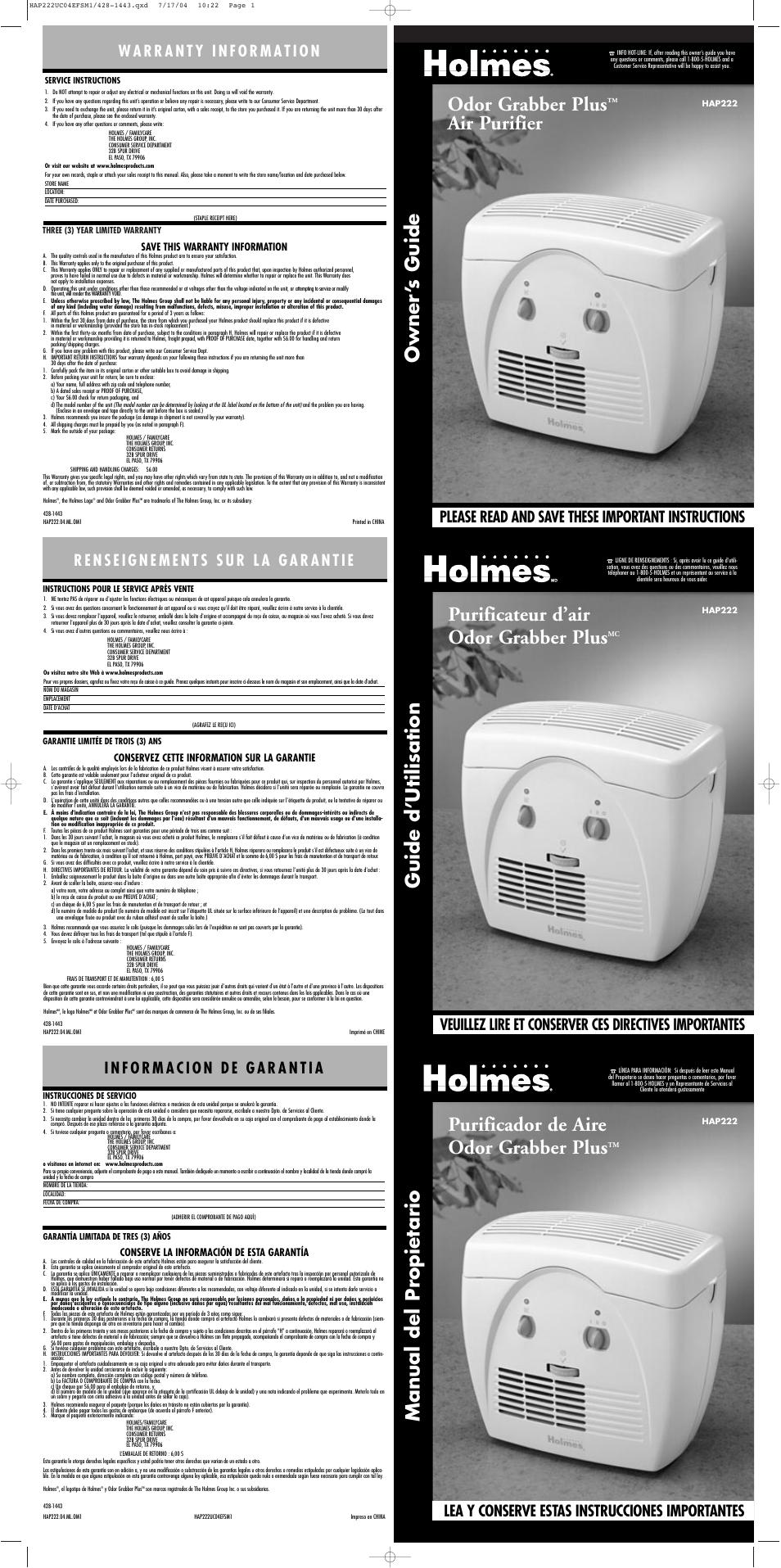 Holmes Hap222 User Manual