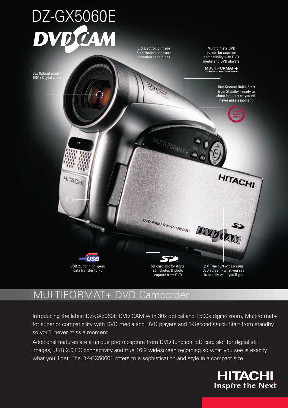 hitachi dz gx5060e user manual 2 pages rh manualsdir com hitachi mini dvd camcorder manual hitachi hybrid camcorder manual