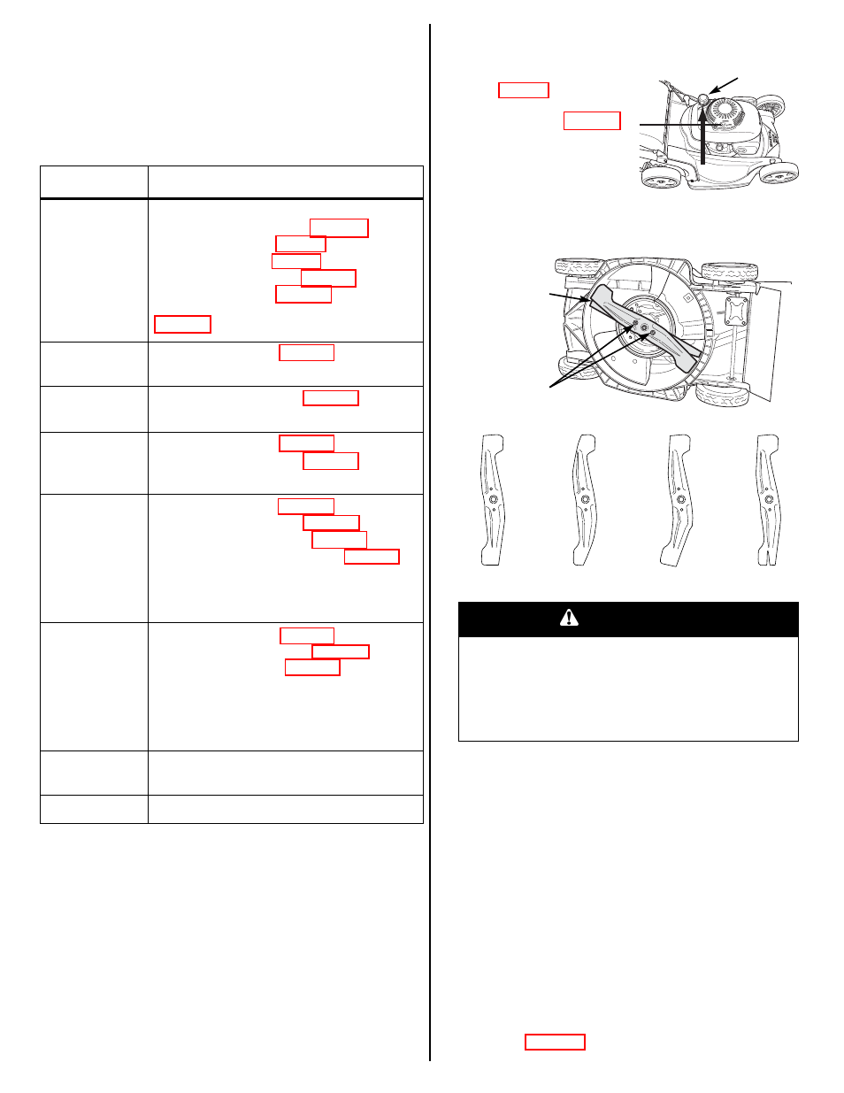 Maintenance schedule, Blades, Warning | HONDA HRX217VKA User Manual | Page  9 / 24