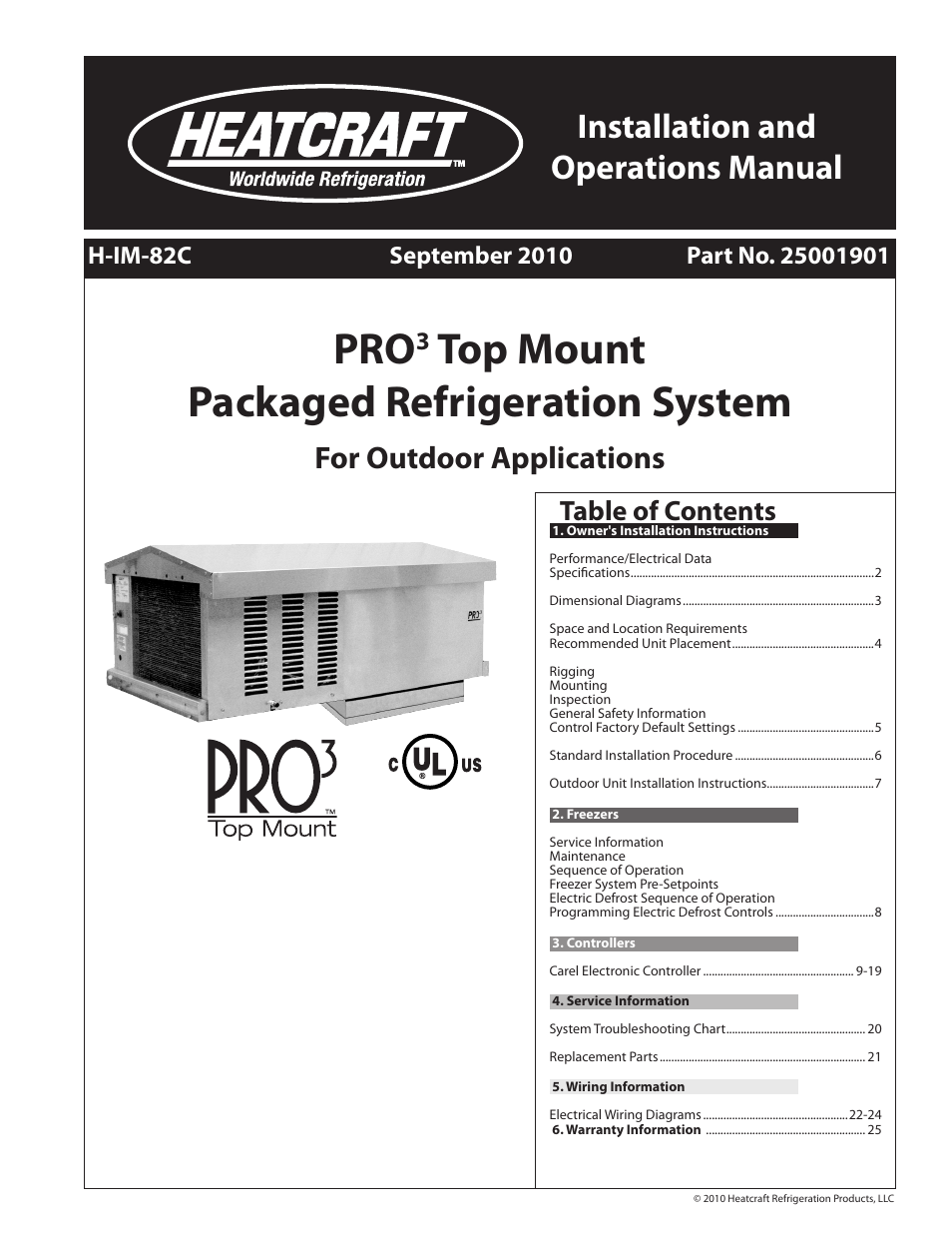 Heatcraft Refrigeration Products Pro Top Mount H