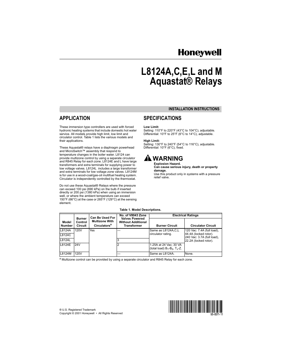 Honeywell R845 Gift Ideas R845a1030 Wiring Diagram Aquastat L8124e User Manual 8 Pages Also For L8124m L8124l L8124c