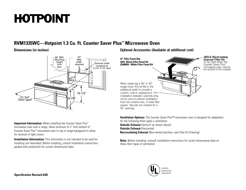 Hotpoint Rvm1335wc User Manual 2 Pages