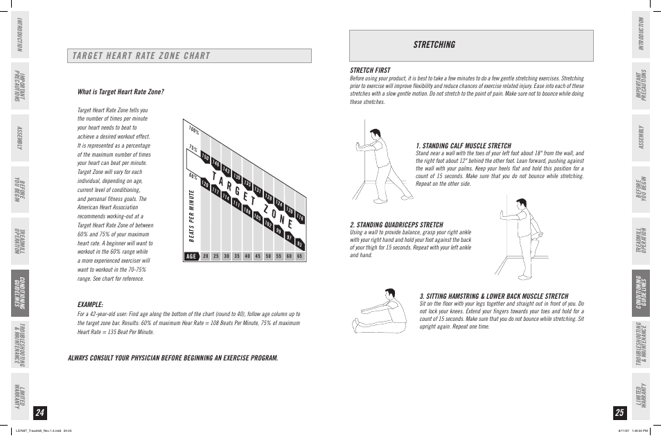 Target Heart Rate Zone Chart Stretching Horizon Fitness Ls760t