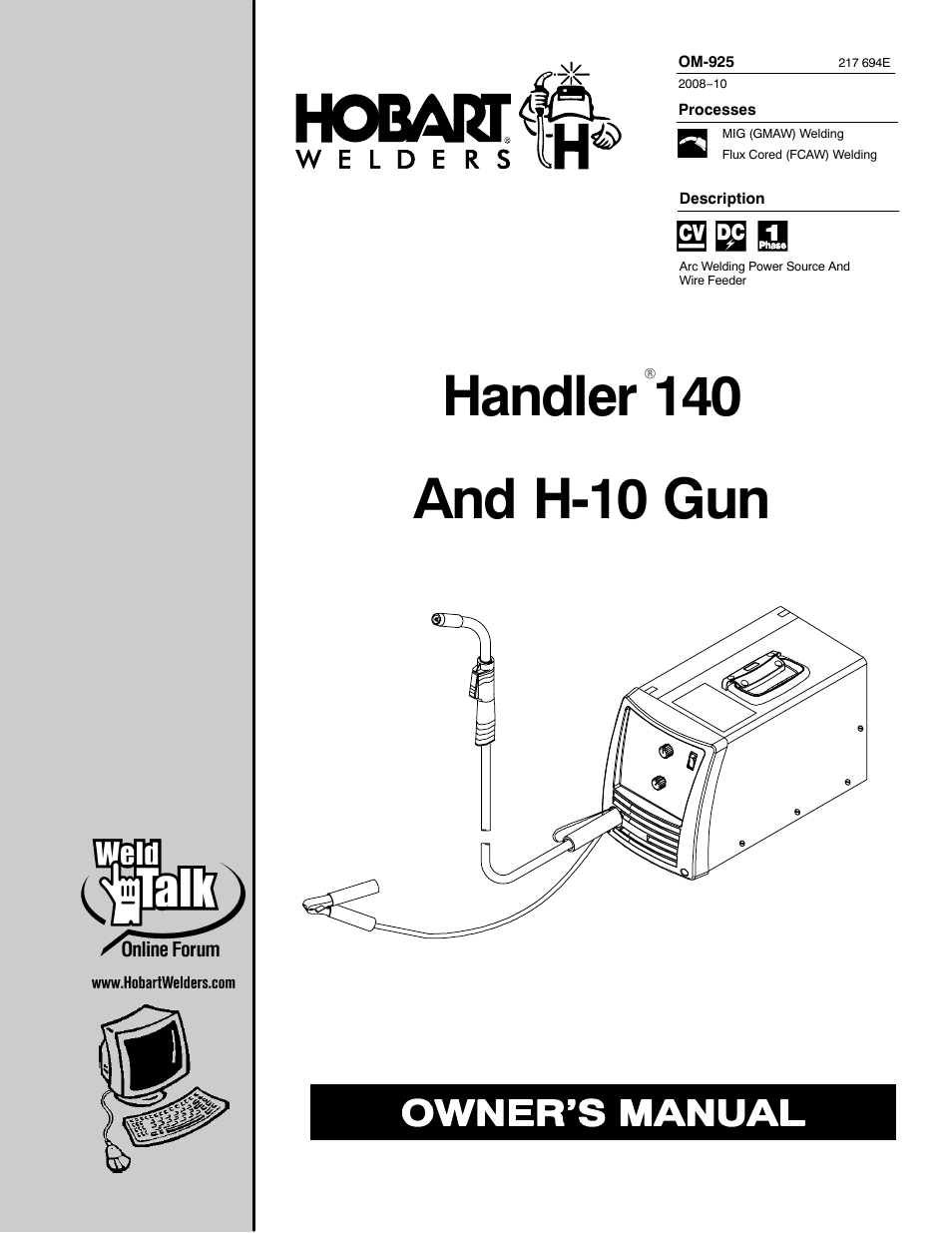 hobart welding products handler 140 om