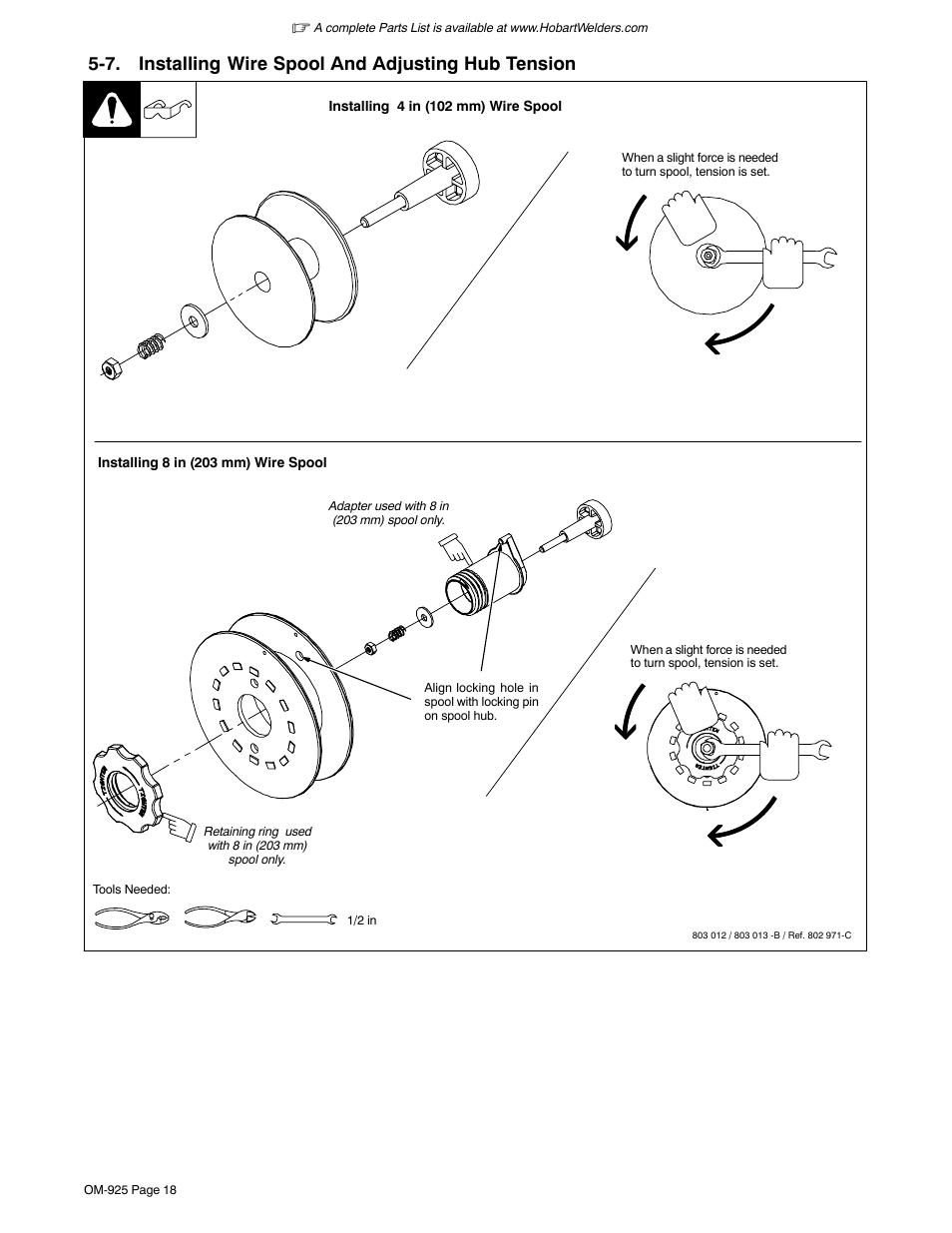 7. installing wire spool and adjusting hub tension | Hobart Welding ...