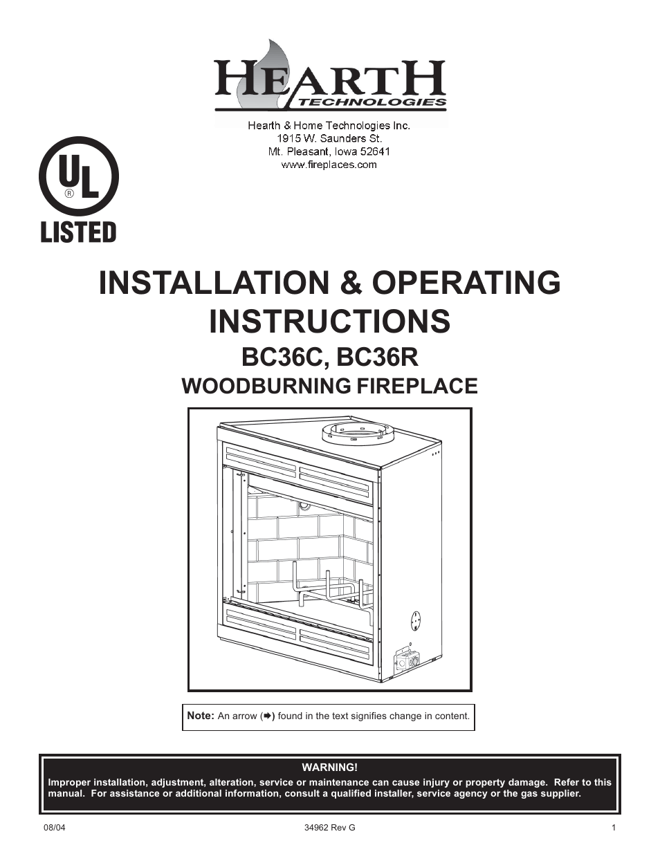 Hearth And Home Technologies Bc36c User Manual